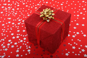 Christmas present wrapped in red